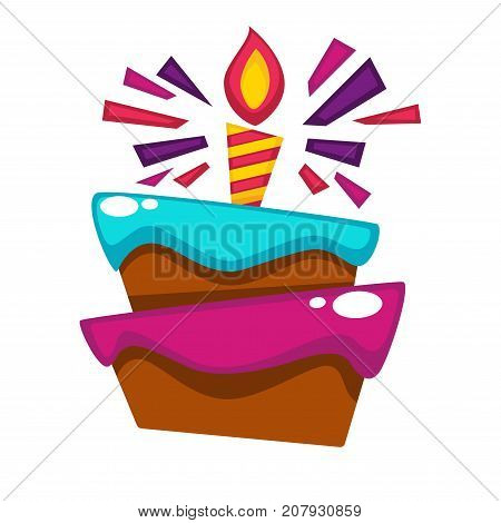 Happy Birthday greeting card or postcard gift template design. Vector birthday party cake and burning candle with festive confetti for anniversary celebration