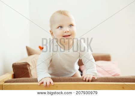 Smiling baby standing at the sofa relying on support. Little toddler with hubby cheeks, happy lovey child explore the world