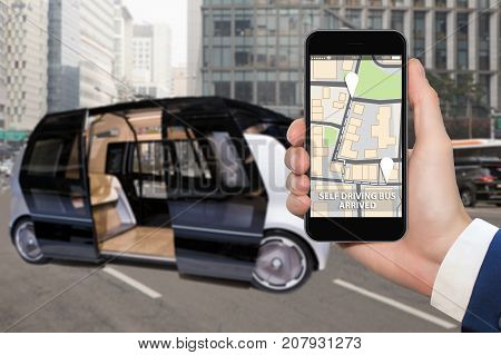 Control of self driving bus by mobile app. Concept