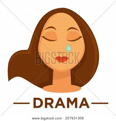 Movie genre icon logo drama of woman crying tear. Vector flat isolated symbol template for cinema or channel movie drama genre emblem