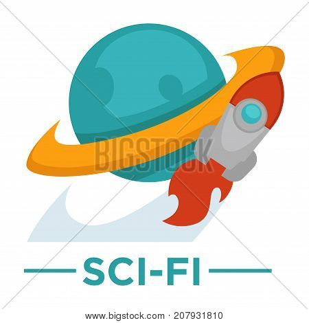 Movie genre icon logo sci-fi of space rocket and world globe. Vector flat isolated symbol template for cinema or channel movie sci-fi genre emblem