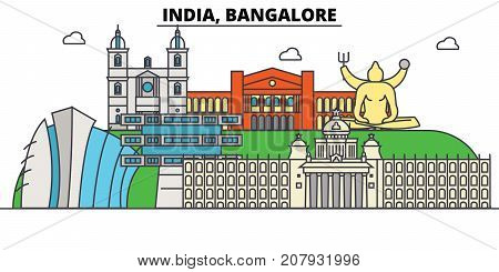 India, Bangalore, Hinduism. City skyline, architecture, buildings, streets, silhouette, landscape, panorama, landmarks. Editable strokes. Flat design line vector illustration concept. Isolated icons