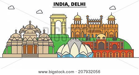 India, Delhi, Hinduism. City skyline, architecture, buildings, streets, silhouette, landscape, panorama, landmarks. Editable strokes. Flat design line vector illustration concept. Isolated icons