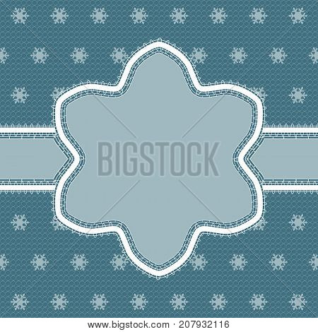 White lace snowflake border with a space for the text. Lace background. Vector illustration