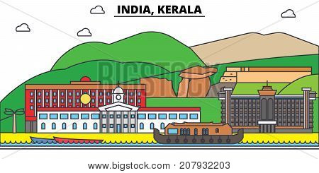 India, Kerala, Hinduism. City skyline, architecture, buildings, streets, silhouette, landscape, panorama, landmarks. Editable strokes. Flat design line vector illustration concept. Isolated icons