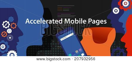 accelerated mobile pages fast in smart phone optimized speed programming coding fast lightning bolt thunder icon fast charging vector