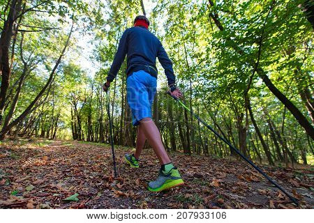 A Man Practicing Nordic Walking In The Autumn Forest Among The Leaves