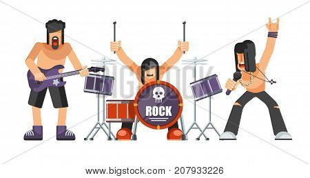 Rock music or rockers band performing on stage with guitarist, percussion drummer man and singer.