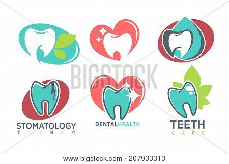 Tooth stomatology clinic logo template. Vector isolated icons of healthy white teeth in mouth, herbal leaf and shine sparkle on tooth or cavity caries for dental clinic or dentistry