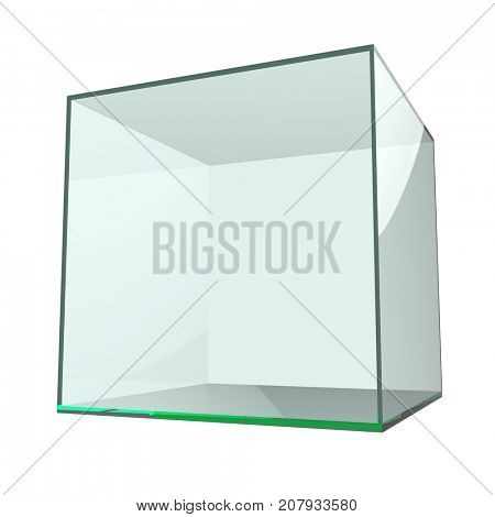 Glass empty cube isolated on white background. 3D illustration.