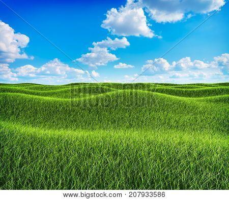 Green grass hills and blue sky landscape background. 3D illustration. Nature backdrop.