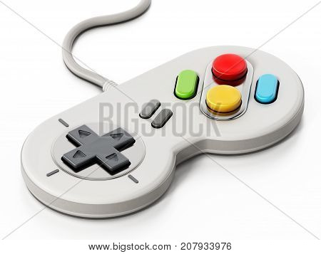 Vintage cable gamepad isolated on white background. 3D illustration