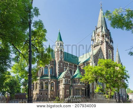 North and east facades of the neo-gothic Church of Sts. Olha and Elizabeth built in the early 20th century in Lviv Ukraine