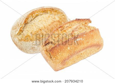 Whole rectangular loaf of the wheat sourdough bread and oval loaf of the hearth sourdough bread with bran on a white background
