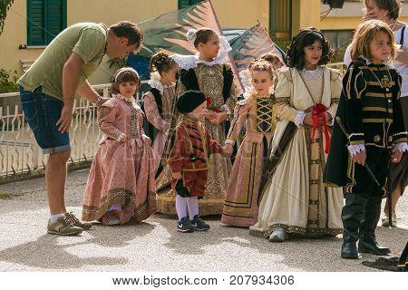 FOLIGNO, ITALY - OCTOBER 8, 2017: The medieval parade of