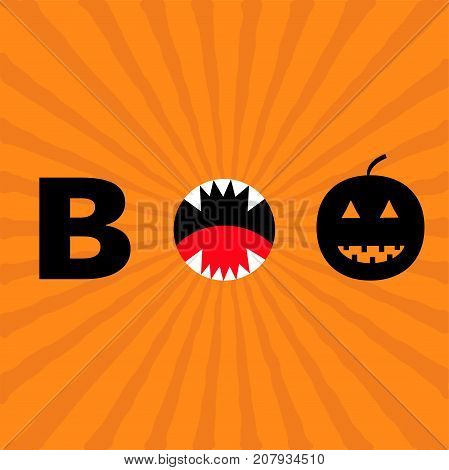 Word BOO text with smiling sad black pumpkin silhouette. Angry screaming mouth fangs tongue. Happy Halloween. Greeting card. Flat design. Orange starburst baby background. Vector illustration