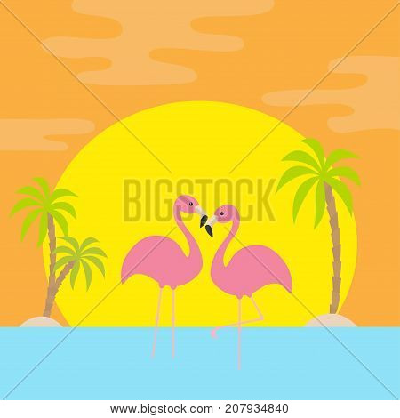 Two pink flamingo standing on one leg. Palms tree island see ocean water wave sun set. Exotic tropical bird. Zoo animal collection. Love Cute cartoon character. Flat design Orange background Vector