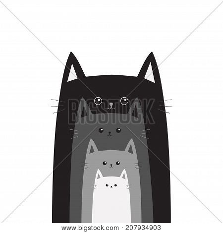 Black gray cat head. Cats in a row. Different size big small middle. Cute cartoon funny smiling character family set. Pet baby collection Card Flat design White background Isolated Vector illustration