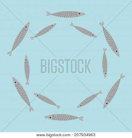 Sardine gray fish set. Iwashi. Sardina pilchardus school. Cute cartoon character. Anchovy pilchard. Round circle frame. Water animal Marine life. Flat design. Blue background. Isolated. Vector