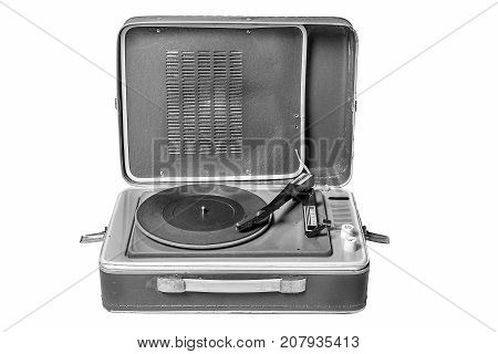 vintage music player turntable isolated over white background