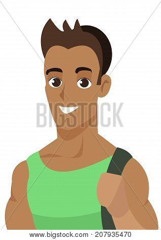 Cheerful boy student isolated on the white background. International students day poster.