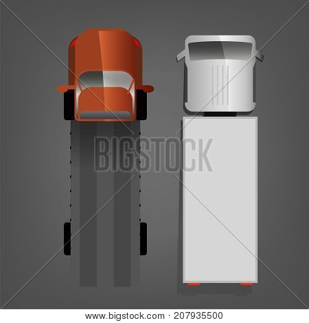 Two trucks isolated on a dark grey background. Lorry top view images in bright colours. Vector illustration in a flat style.