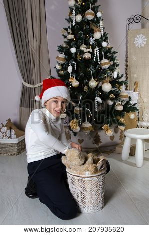 Mischievous boy in white sweater and Santa red hat is sitting near decorated Christmas tree and taking out the brown teddy bears from the basket.