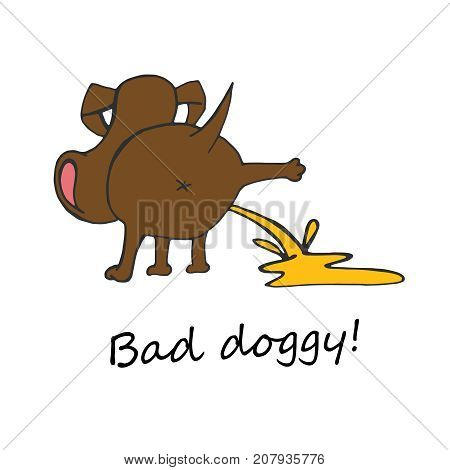 Hand drawn funny peeing dog. Unique vector illustration in modern style. Beautiful image in brown and yellow colours isolated on white background. Bad doggy poster.