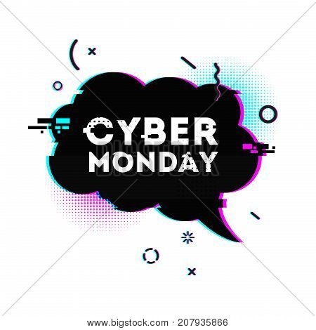 Template design graphic for cyber monday offer. Bubble shape for promotion event in glitch style. Web banner layout with geometric particle and computer noise and grunge texture for cyber sale.