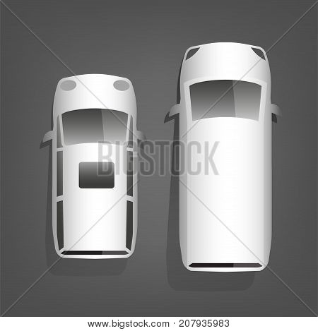 Two minivans isolated on a dark grey background. Multipurpose vehicle top view images in whote color. Vector illustration in a flat style.
