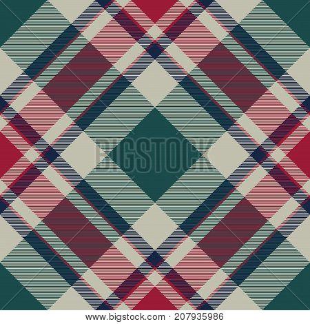 Abstract check plaid diagonal seamless fabric texture. Flat design. Vector illustration.