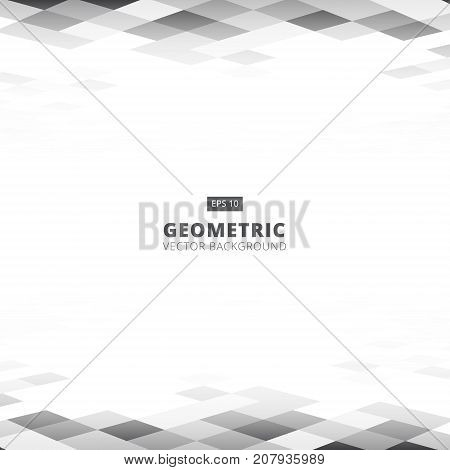 Abstract geometric square gray and white color pattern background perspective with copy space. Vector illustration