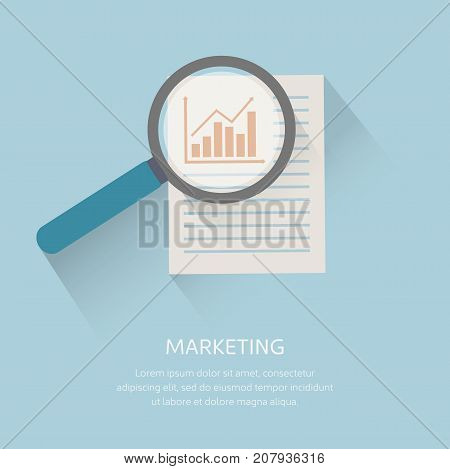Magnifying optical glass with growth graph icon. Vector illustration.