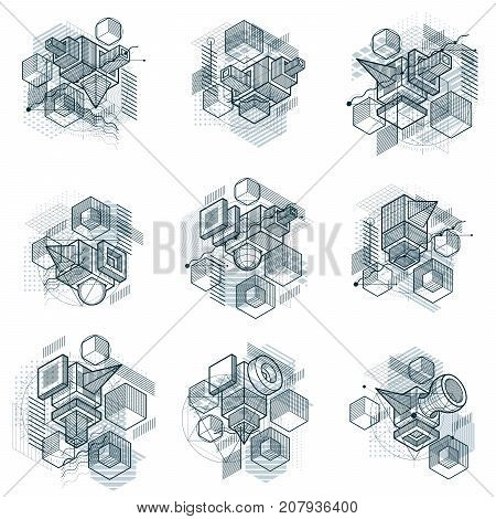 Abstract isometrics backgrounds 3d vector layout. Compositions of cubes hexagons squares rectangles and different abstract elements. Vector collection.