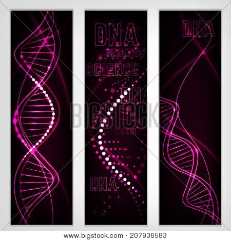 Vertical digital banners with glowing neon DNA chain. Abstract scientific background in deep purple colours. Beautiful vector illustration. Biotechnology, biochemistry, genetics and medicine concept.