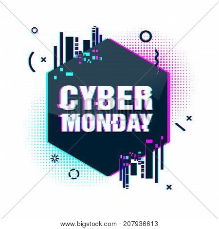 Template design geometric web banner for cyber monday offer. Promotion design in glitch style with geometric particle for cyber sale