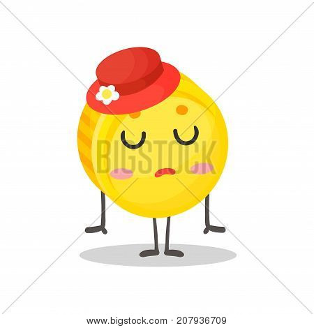 Cute coquettish golden coin humanized character wearing red hat, money and finance concept cartoon vector Illustration on a white background