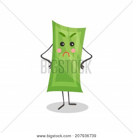 Cute angry paper money humanized character, money and finance concept cartoon vector Illustration on a white background