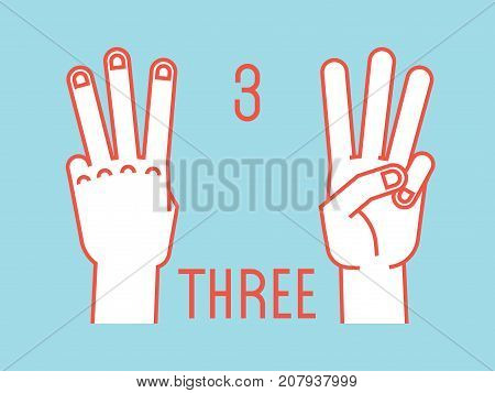 Count on fingers. Number three. Gesture. Stylized hands with index, middle and ring fingers up. Vector illustration with text on blue background. Orange lines, white silhouette. Icons. Logo. Signs. 3.