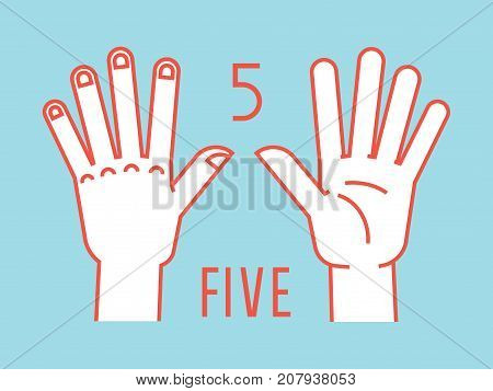 Count on fingers. Number one. Gesture. Stylized hands with all fingers up. Vector illustration with text on blue background. Orange lines, white silhouette. Element for your design. Icons. Signs. 5.
