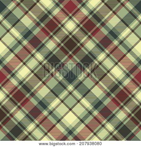 Green plaid diagonal seamless fabric texture. Vector illustration.