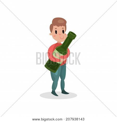 Young man holding giant bottle of alcohol, harmful habit and addiction cartoon vector Illustration on a white background