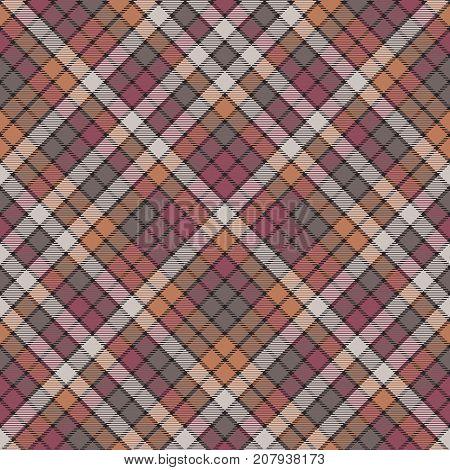 Mosaic check plaid fabric texture seamless pattern. Flat design. Vector illustration.