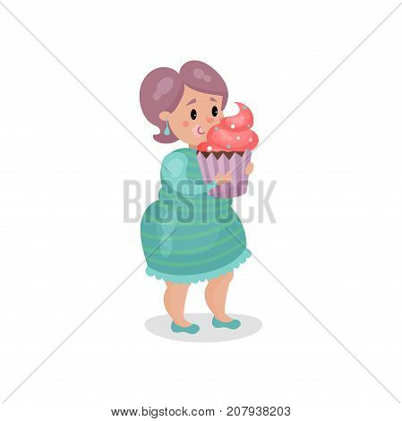 Young fat woman eating giant cupcake, harmful habit and addiction cartoon vector Illustration on a white background