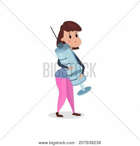 Young woman holding giant syringe, harmful habit and addiction cartoon vector Illustration on a white background