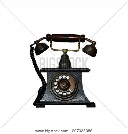 Old Vintage Telephone Isolated On White