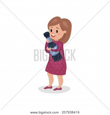 Young woman holding giant bottle of alcohol, harmful habit and addiction cartoon vector Illustration on a white background
