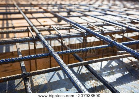 Steel reinforcement for the concrete floor of new house