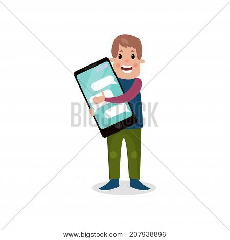Young man holding giant smartphone, internet addiction cartoon vector Illustration on a white background