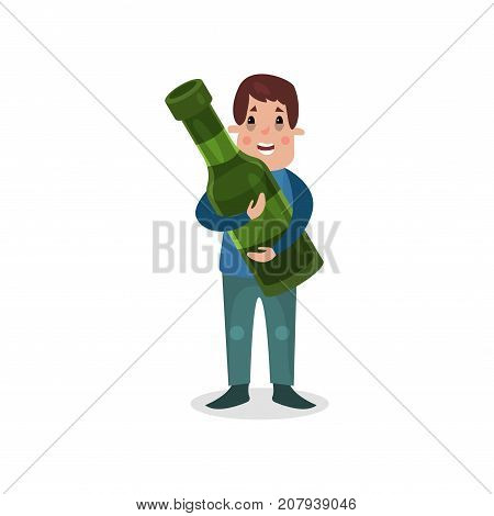 Man holding giant bottle of alcohol, harmful habit and addiction cartoon vector Illustration on a white background